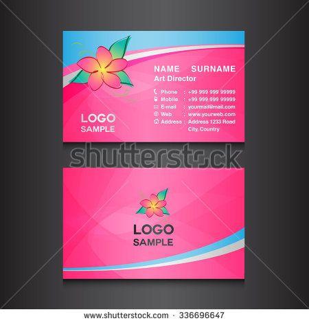Pink Flower Business Card Designcard Design Vector Illustrationpink Background