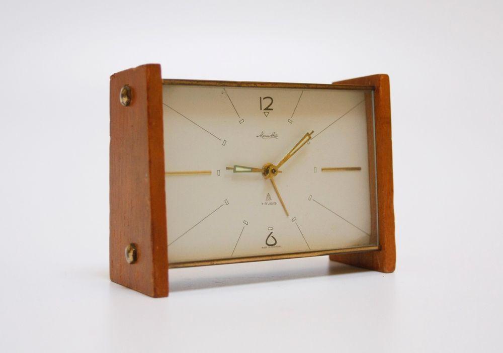 Mid century modern Mauthe Alarm Clock - Teak Modernist 1950s ...