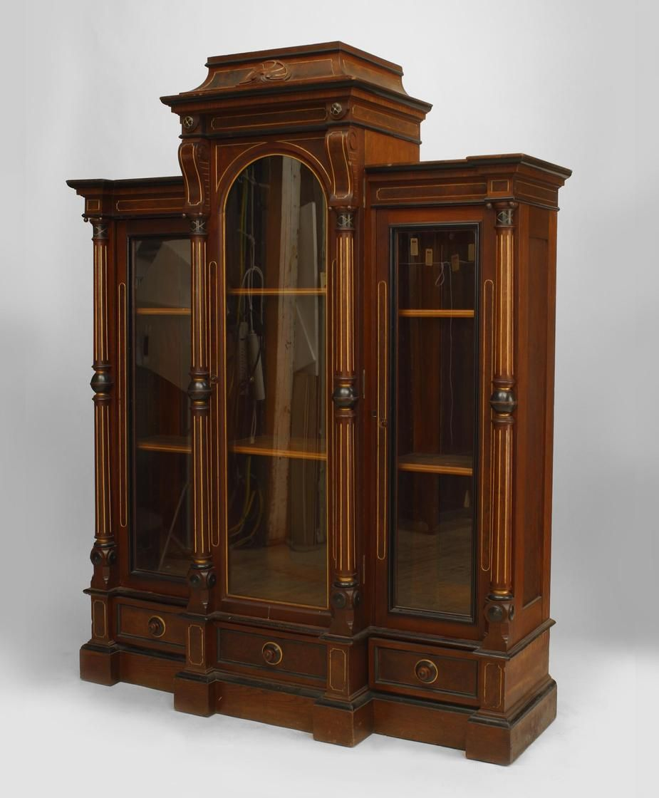 American victorian eastlake walnut bookcase with column Victorian columns