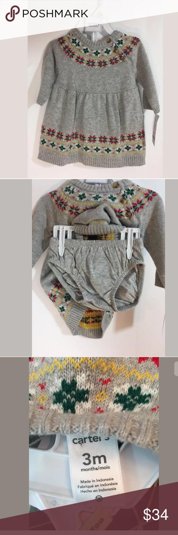 "c78a61c62 Carter's Holiday Sweater Dress Sz 3M NWT Dress is nwt. Length 13 1/2"" Carter's  Dresses"