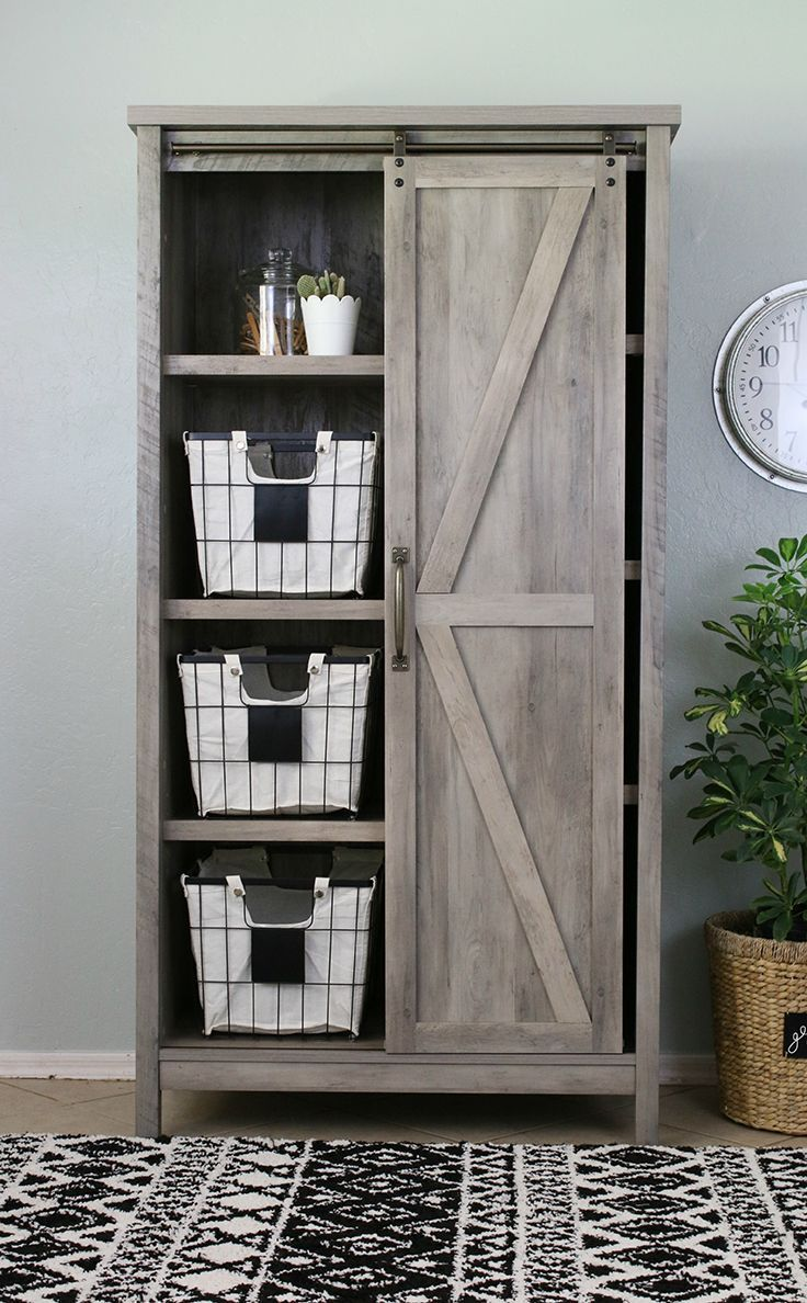 "Better Homes & Gardens 66"" Modern Farmhouse Bookcase Storage Cabinet, Rustic Gray Finish - Walmart.com"