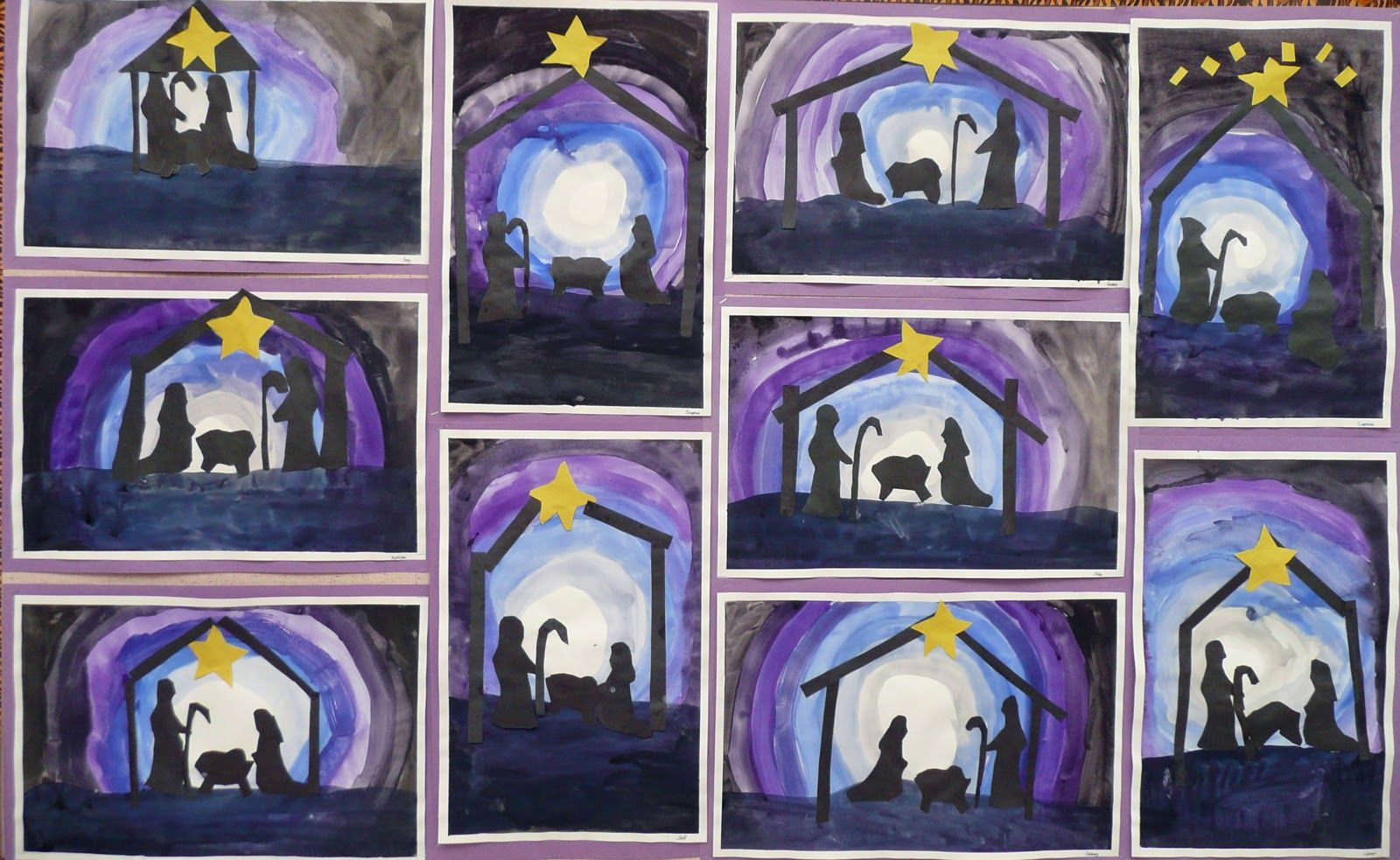 Nativity Silhouettes Made 1st Week In December With Oldest Grades At Co Op School Description From Pinterest C Christmas Art Christmas Art Projects Advent Art