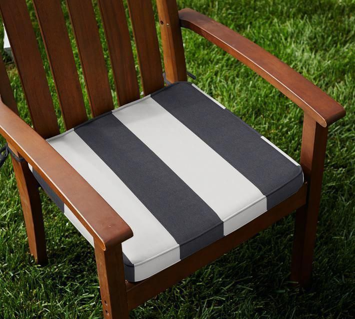 Pottery Barn Sunbrella Piped Outdoor Dining Chair Cushion Stripe