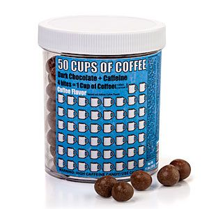 Four candies equal about one good cup of joe (100mg of caffeine). You get  about 200 candies per jar, so 50 cups of coffee worth.
