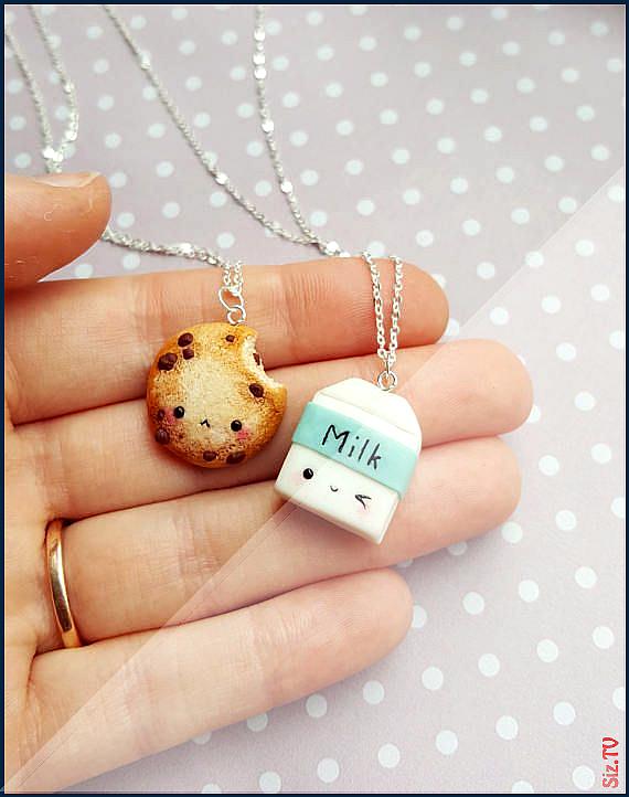 BFF Cookie und Milch Halskette Anh nger Freundschaft miniaturschmuck besten Freund Schl sselanh nge