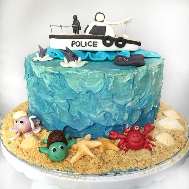 Soaking Up The Sun With A Ocean Themed Cake Police Boat For Nats Birthday They Didnt Want Fondant Wrapped So I Use
