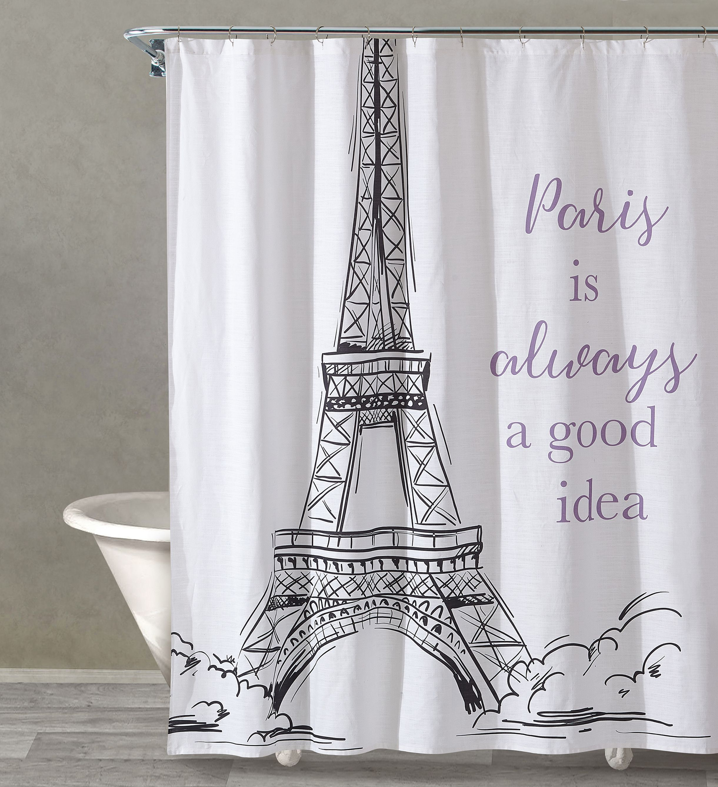 Yes to paris black shower curtain x