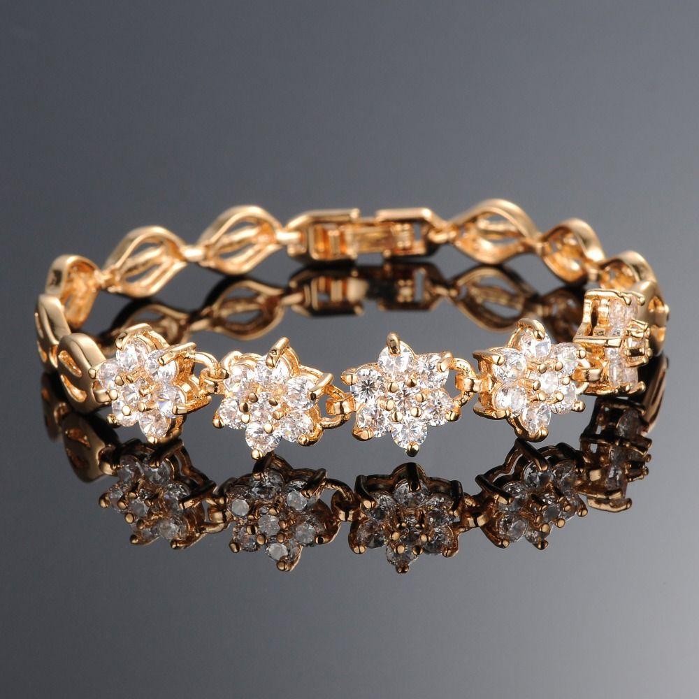 Noble white lotus bracelet yellow gold filled luxury women aaa cubic