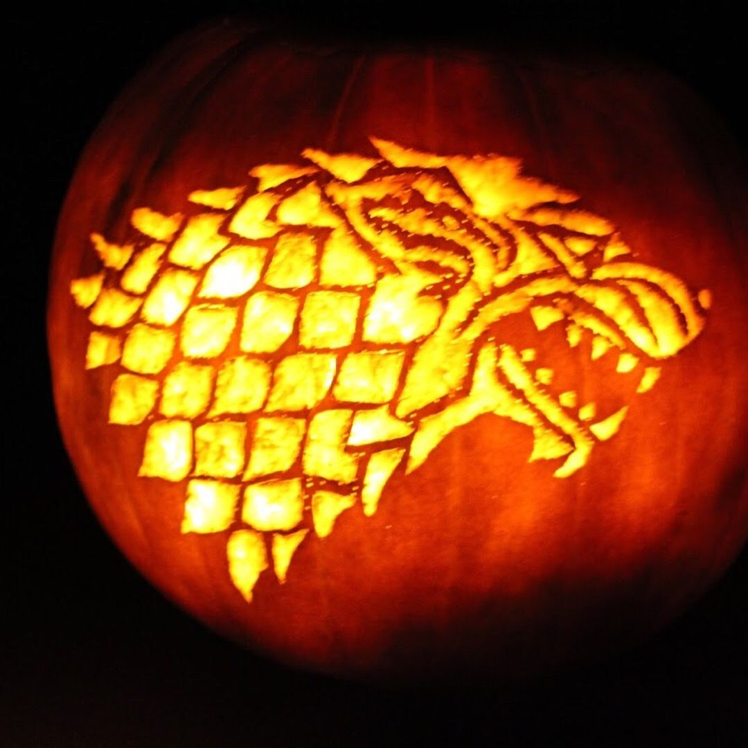 Game of Thrones House Stark pumpkin carving sculpting Completed