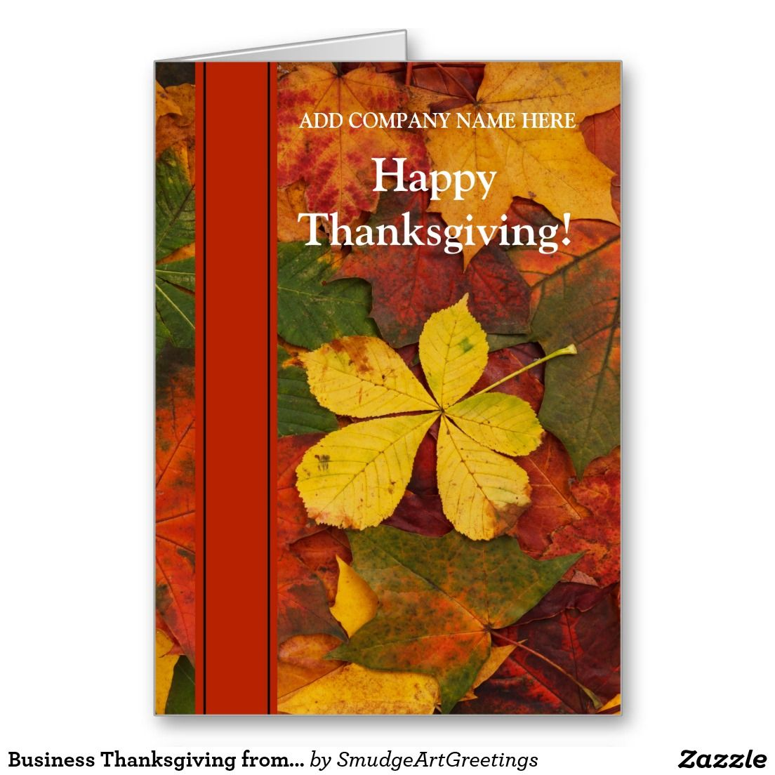 Business corporate thanksgiving holiday card business business thanksgiving from company fall leaves greeting card m4hsunfo