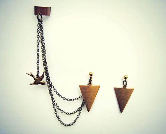ear cuff with arrow head earrings and dangling bird, chains ear cuff, tribal ear cuff, tribal earrings, bird earrings