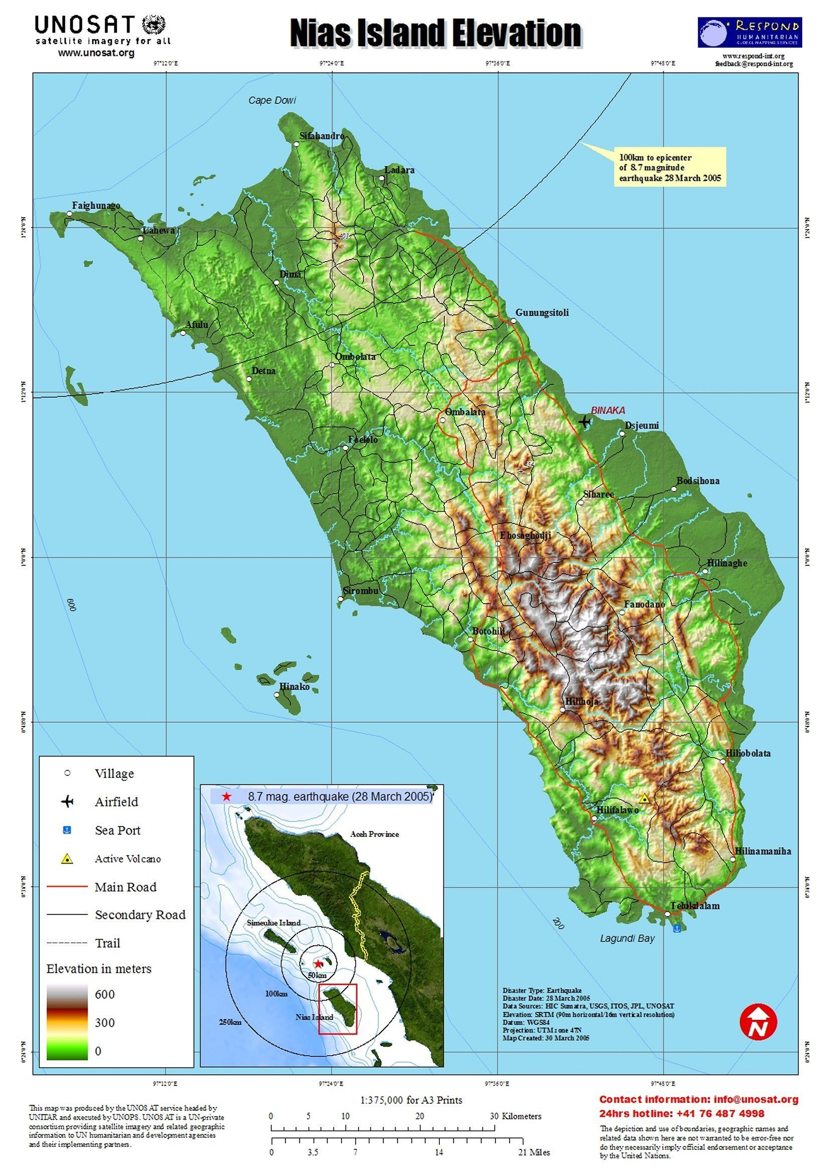 Pulau Nias Island Elevation And Earthquake Map Sumatra Utara - Norway elevation map