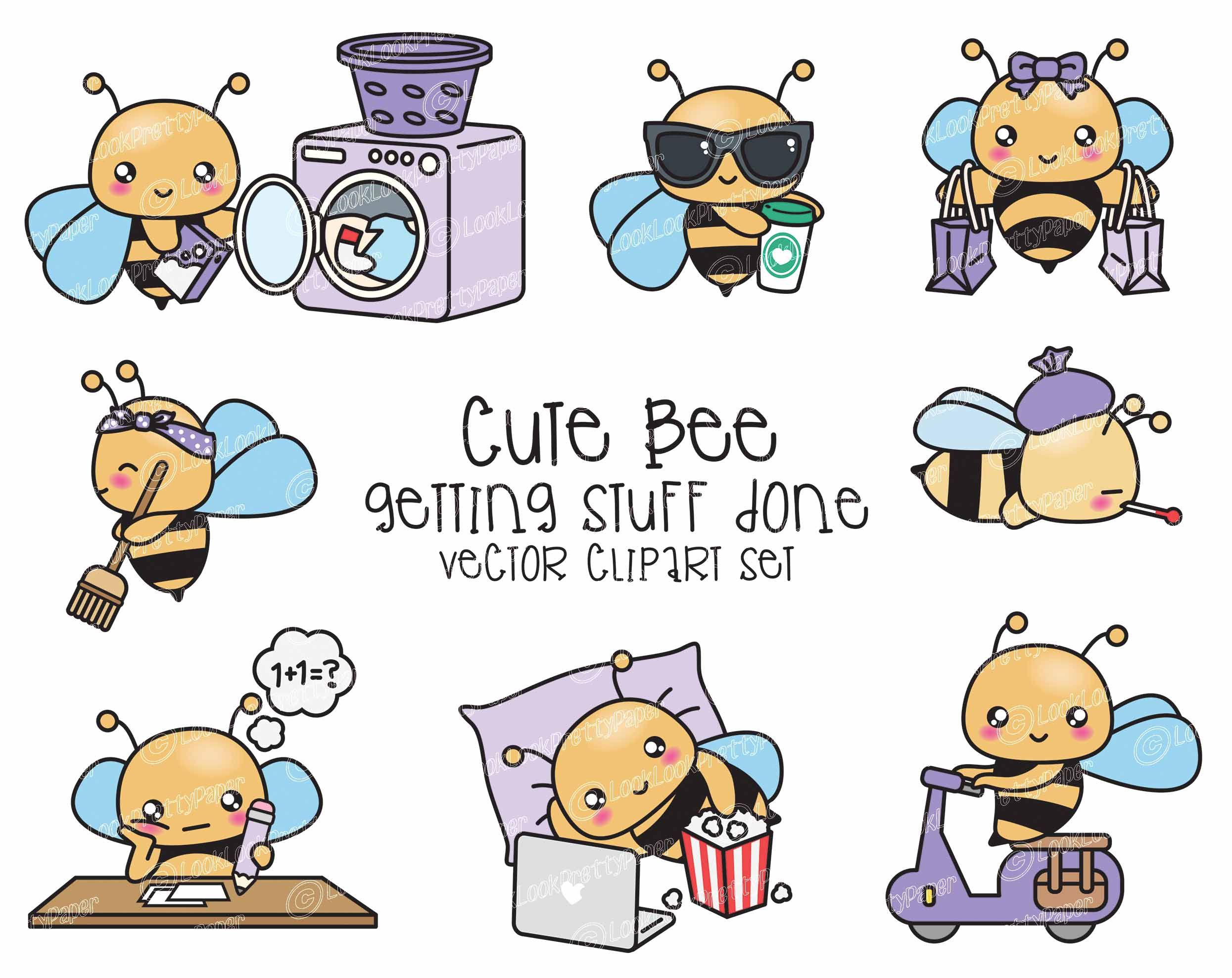 Premium Vector Clipart Kawaii Bee Cute Bees Planning Etsy In 2021 Kawaii Clipart Cute Bee Clip Art