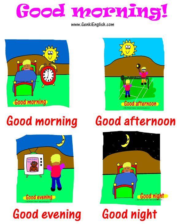 Время суток в английском в картинках