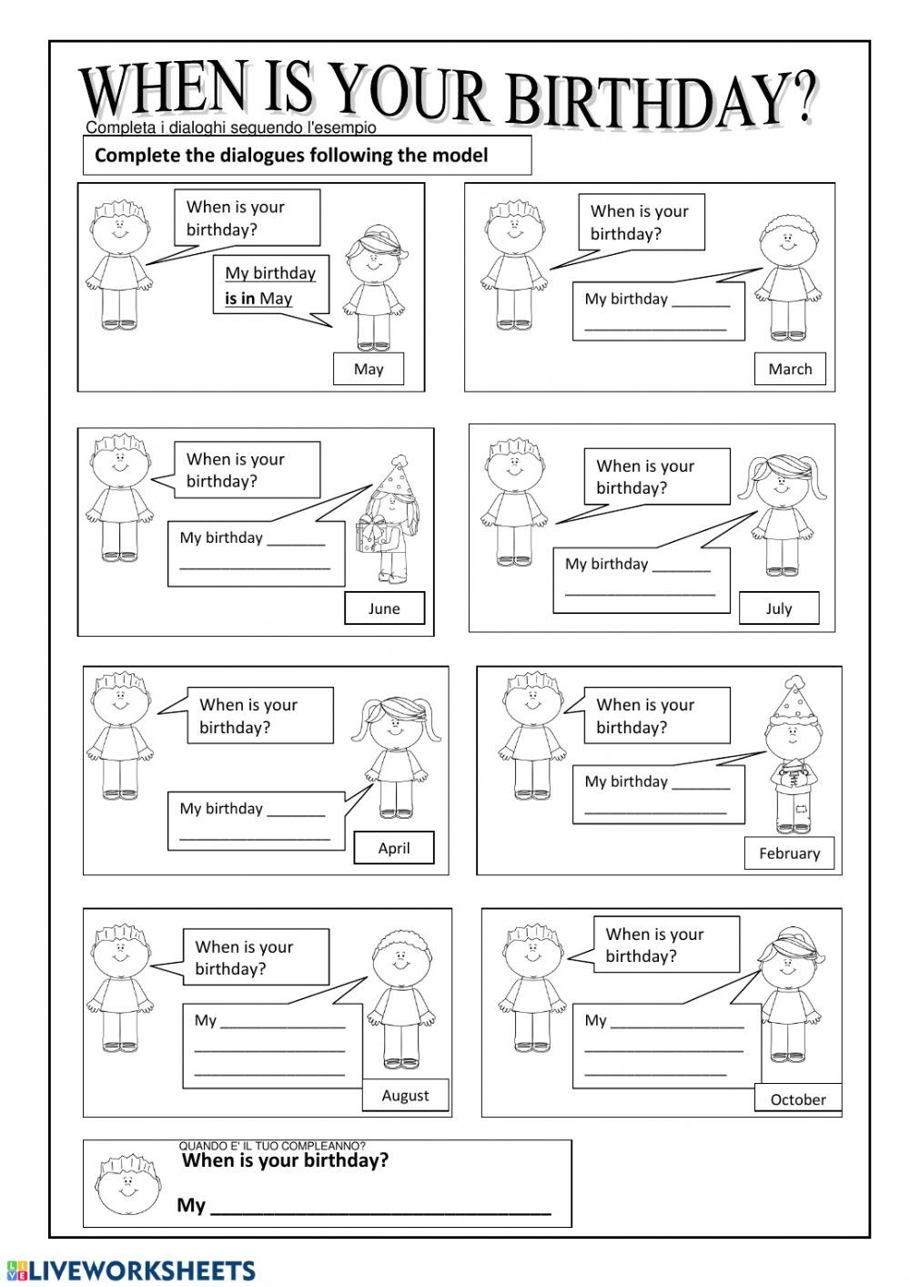 Birthday Interactive Worksheet In 2021 Interactive Activities Its My Birthday Month English As A Second Language [ 1413 x 1000 Pixel ]