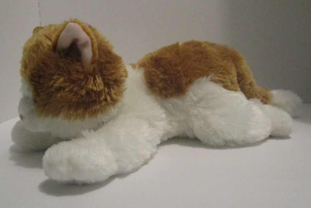 Aurora Floppy Cat Kitten Tan Gold White 13 Plush Amber Eyes