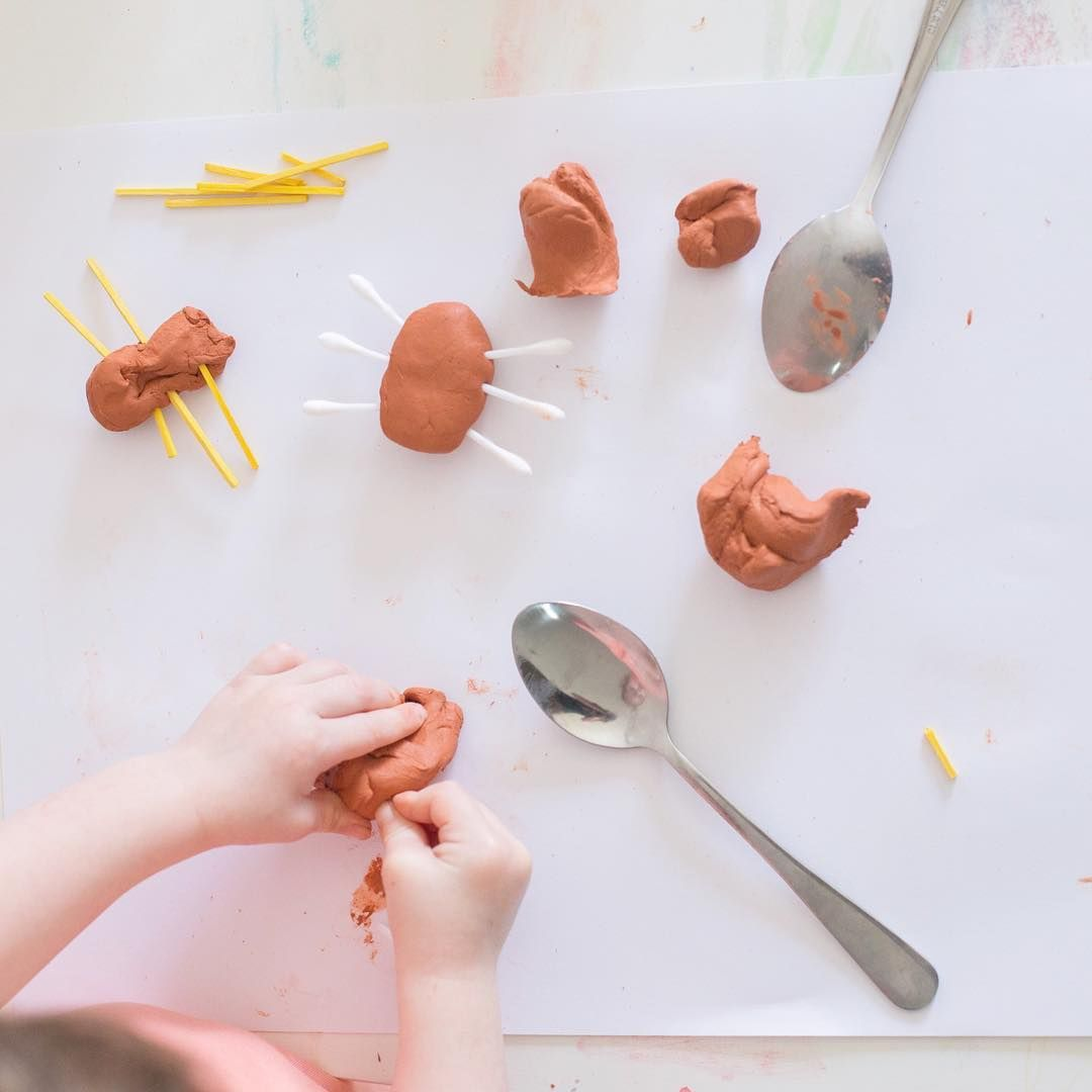 We were inspired by @myteachingcupboard and her cute little clay creepy crawlies…