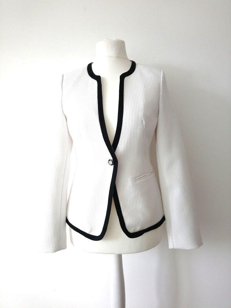 risparmi fantastici caldo-vendita negozio di sconto ATTENTIF PARIS SIZE 12 / 42 LADIES WHITE BLAZER JACKET BLACK TRIM ...