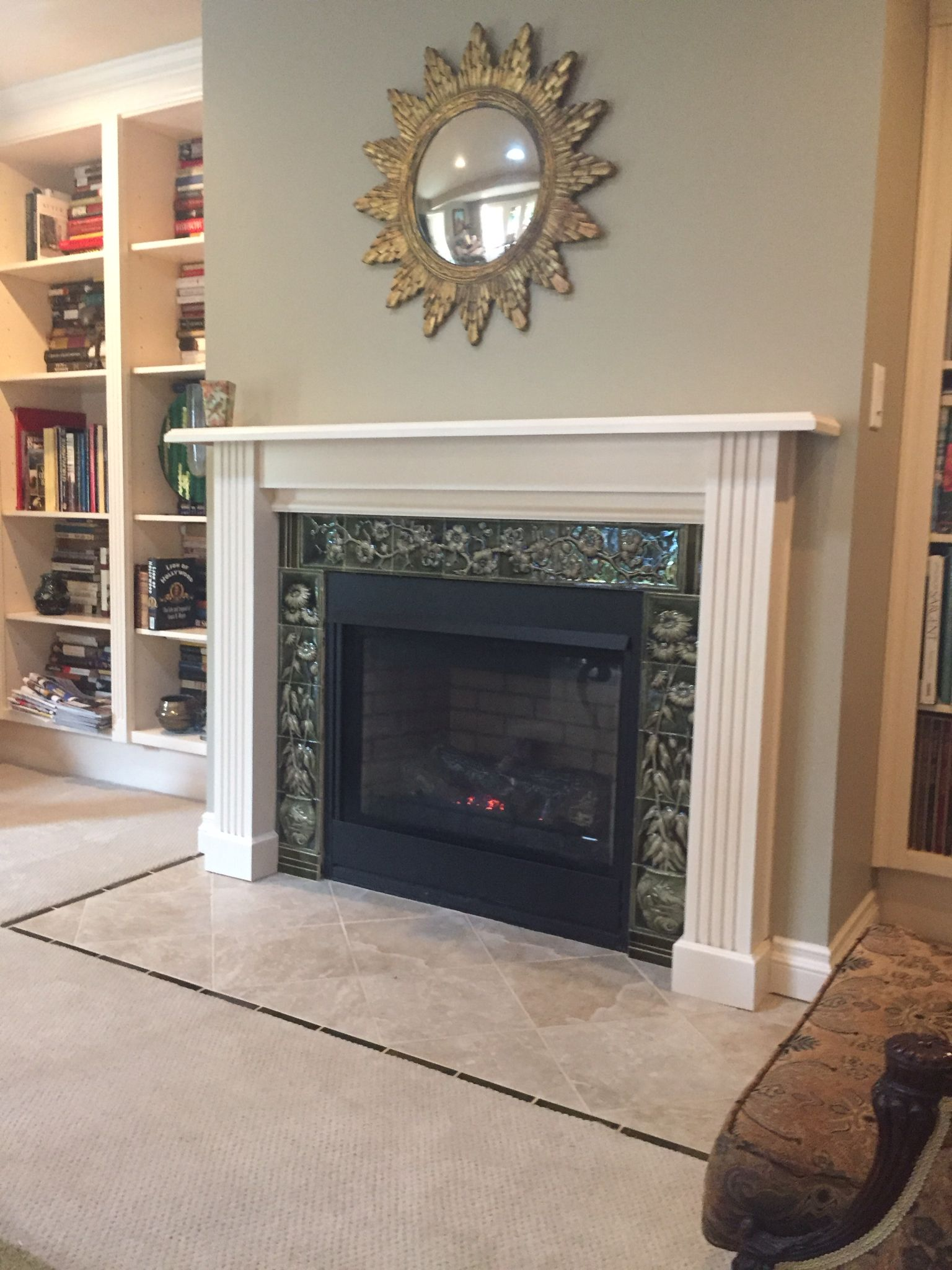 red victorian antiques architectural fireplace pink tiles s with antique insert rose c cast fireplaces iron