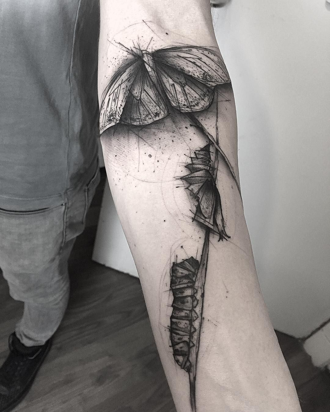 Caterpillar Transformation Sketch Style Tattoo By Kamilmokot