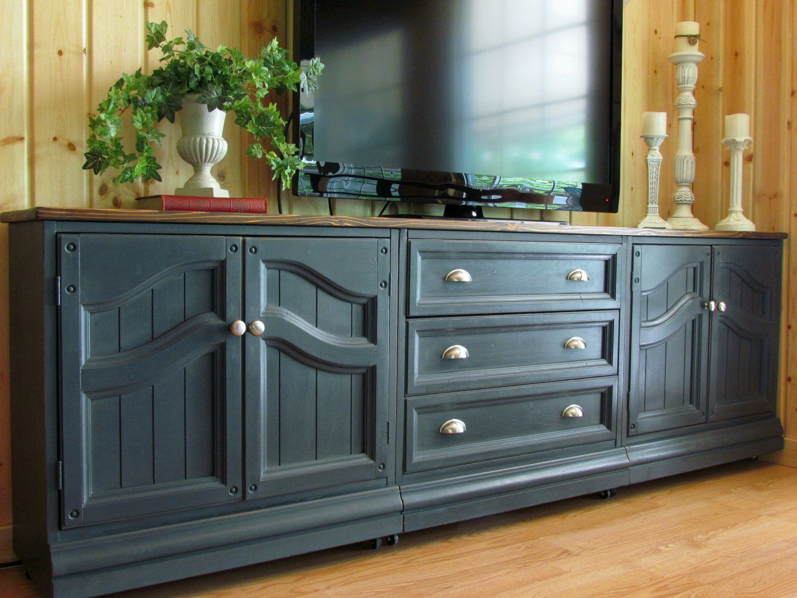 Image Of Tv Console Using Base Kitchen cabinets | TV Cabinet In Graphite