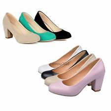 Womens Ladies Causal Wedge Court Shoes Vintage Chunky Heels Pumps Size 2-Style