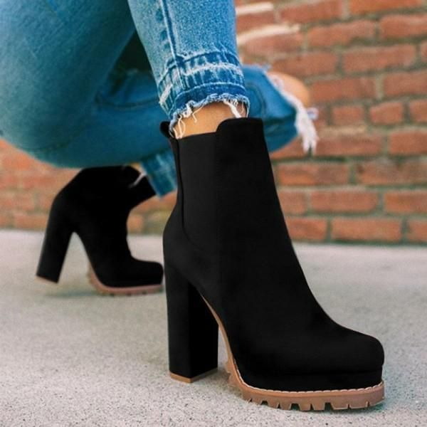 Kakimoda Elastic Panel Slip On Chunky Heel Ankle Booties #booties