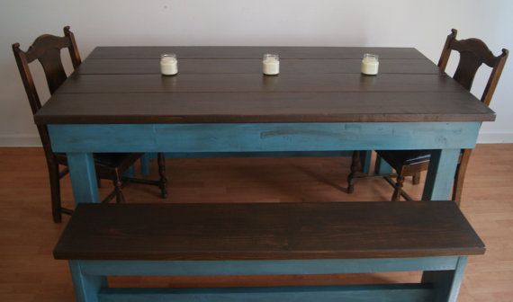 Glazed And Distressed Blue Farm Table Benches By Furniturefarm 799 00 Farm Table Farm Table With Bench Rustic Farm Table