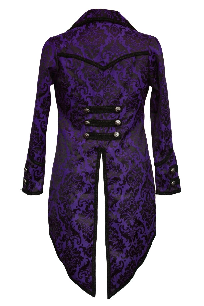 Black brocade steampunk jacket tailcoat with lacing