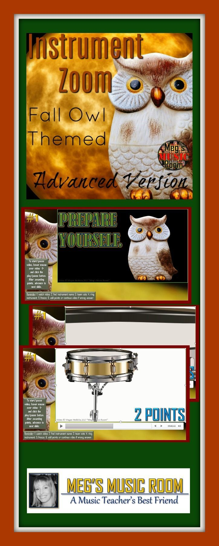 Fall Owl Orchestra Game INSTRUMENT ZOOM Elementary Music