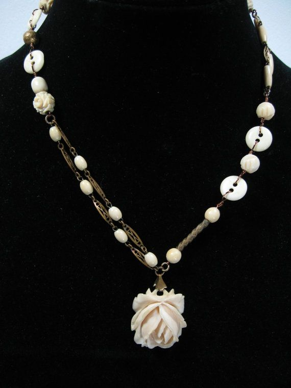 Antique Upcycled Recycled Repurposed Carved Bone Rose Pendant With 1930 Brass Bone Strands Carved Rose Beads An Repurposed Necklace Junk Jewelry Buying Jewelry