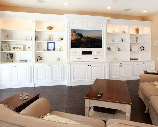 Tremendous Family Room Design Also Elegant White Built In Wall