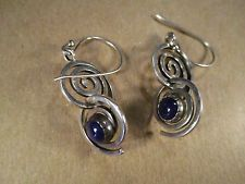 Sterling Silver & Lapis Spiral Earrings, RMT Roderick Tenorio/Relios, 6.8g