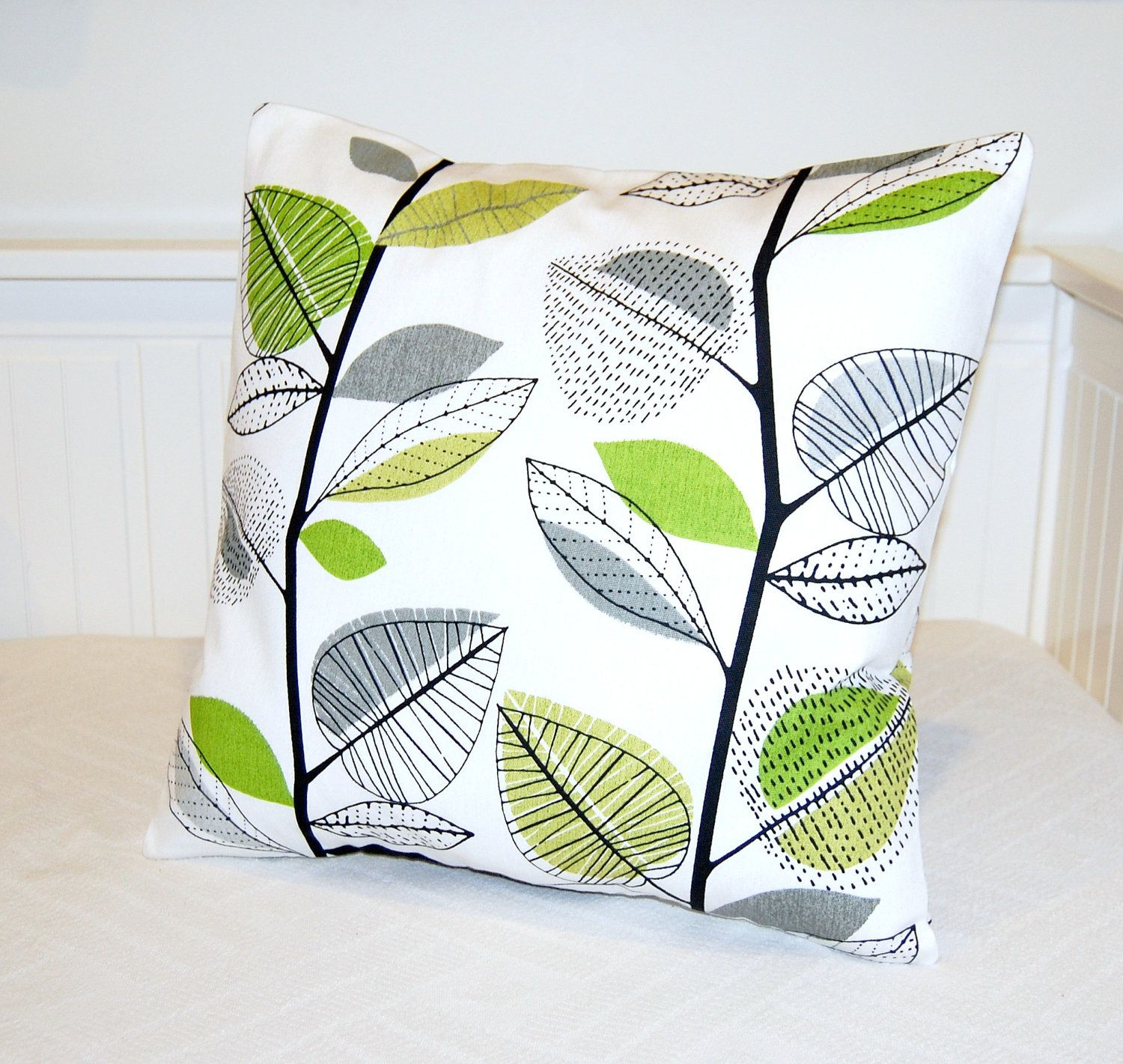 pillow cover lime bright green grey leaves by LittleJoobieBoo, £16.50