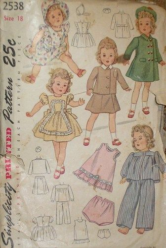 My mother used this pattern to make clothes for my doll in the late ...