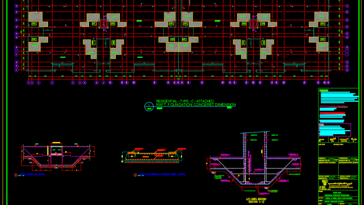 Raft Foundation Concrete Details Free Autocad Template Autocad Autocad Free Rafting