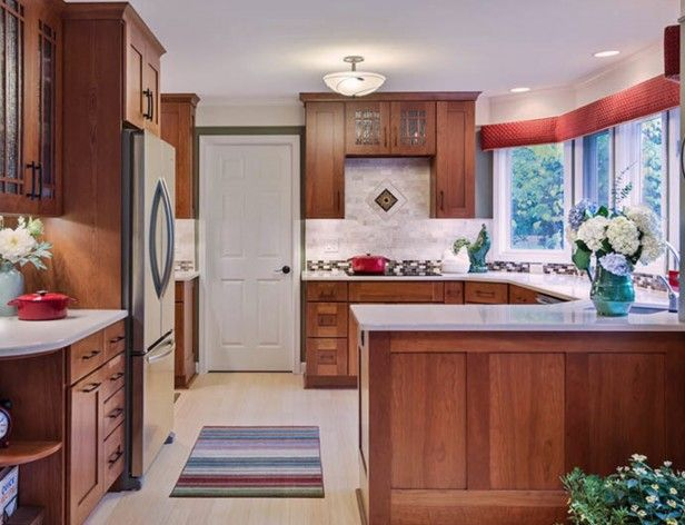 Kitchen Backsplash Cherry Cabinets White Counter the key to great design is contrast | white quartz countertops