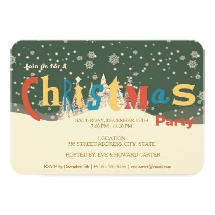 Retro Snow Flakes and Trees Christmas Party Card Invitation ideas