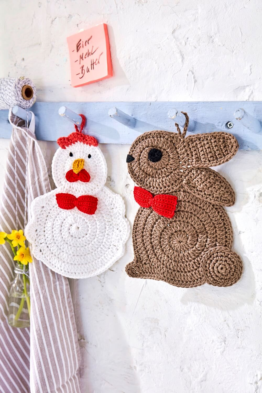 Topflappen-Set aus Hase und Huhn #eastercrochetpatterns