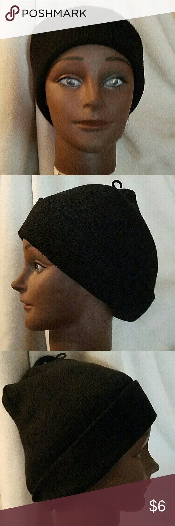 NWOT Black Beanie Hat Black beanie, Knitting designs