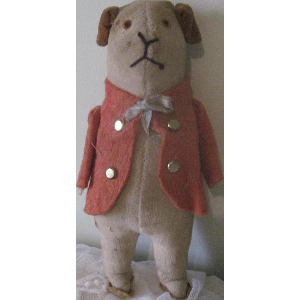 Old Vintage Velvet Stuffed Toy Dog Doll