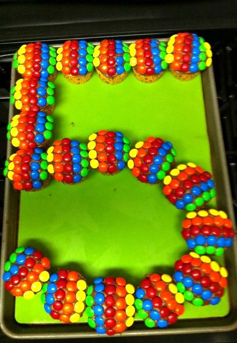Rainbow Cupcake ~ cute idea for any birthday number