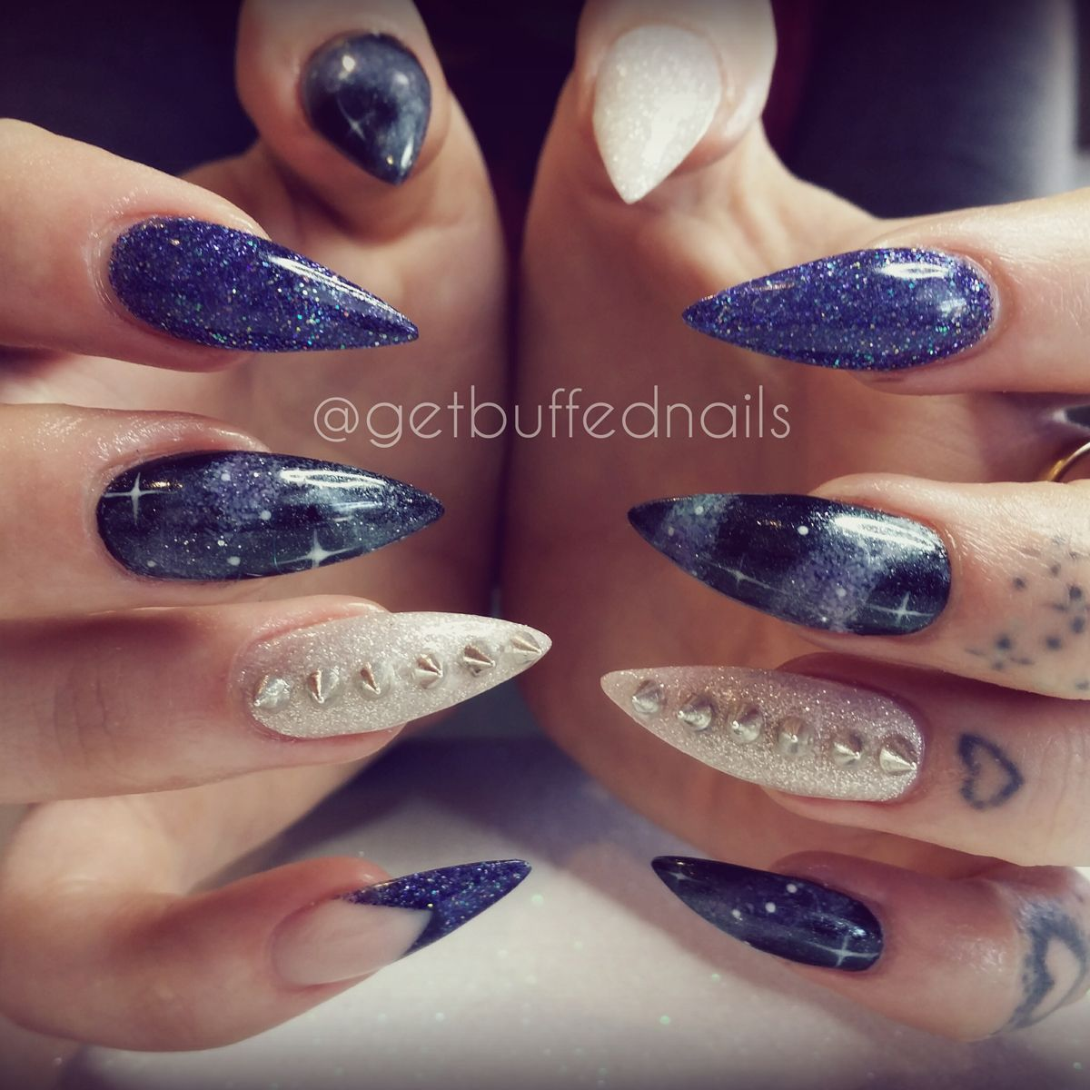 Sarah Elmaz of Get Buffed Nails has remixed the galaxy nail by pairing it  with studs - Sarah Elmaz Of Get Buffed Nails Has Remixed The Galaxy Nail By
