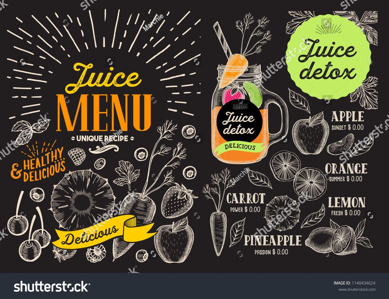 Juice Smoothie Menu For Restaurant And Cafe Vector Drink Flyer Design Template With Vintage Fruit Hand Drawn Illustration Juice Menu Smoothie Menu Menu Flyer