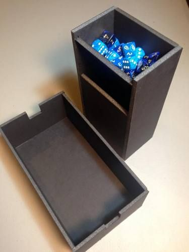 Foam dice tower that stores in dice tray with dice storage