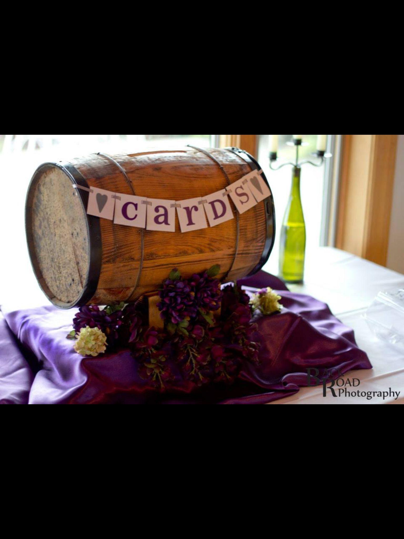 Wine barrel card holder Katie wedding pictures