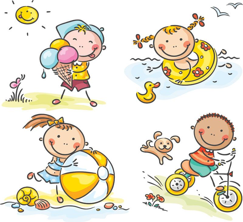 Set Of Vector Children At Play Cartoon Illustrations For Your Summer  Related Graphic Designs For Kids. Description Keywords: Summer Kids, ...