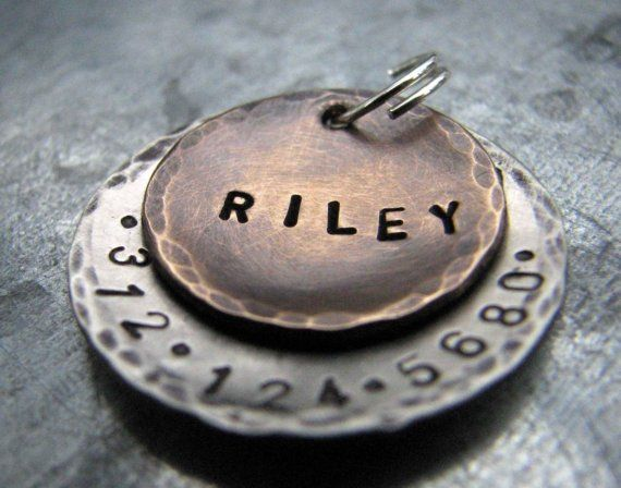 Custom Pet Tag Dog Tag Riley In Mixed Metal Bronze And