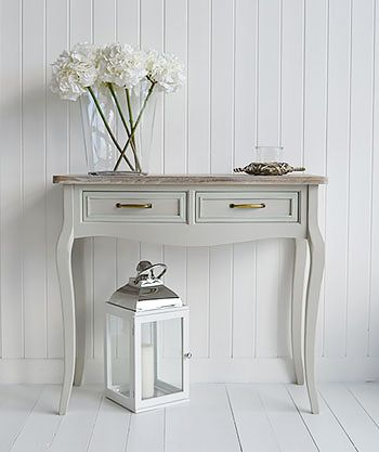 Bridgeport grey console sofa table with two drawers Grey living