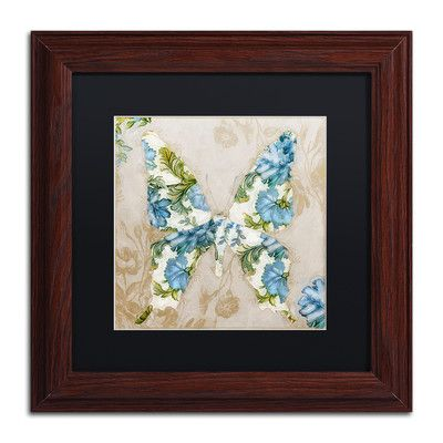 "Trademark Art 'Winged Tapestry I' by Color Bakery Framed Painting Print Size: 11"" H x 11"" W x 0.5"" D, Mat Color: Black"